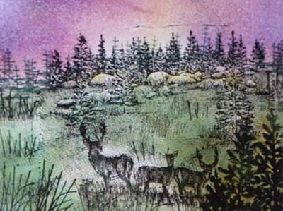 Deer Grazing At Dusk Poster