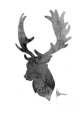 Deer Head Art Print Watercolor Painting Poster by Joanna Szmerdt
