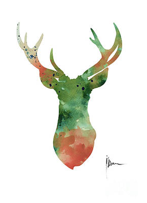 Deer Head Watercolor Large Poster Poster by Joanna Szmerdt