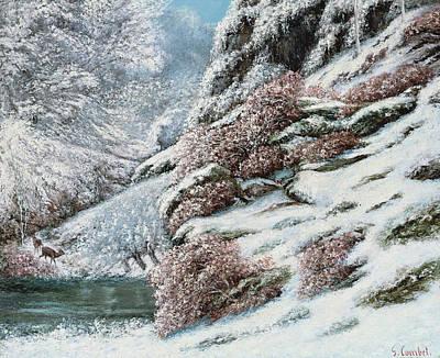 Deer In A Snowy Landscape Poster