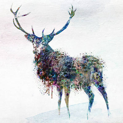 Deer In Watercolor Poster by Marian Voicu