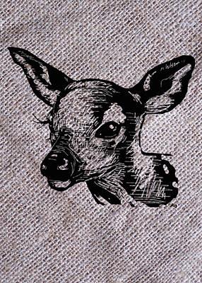 Deer On Burlap Poster