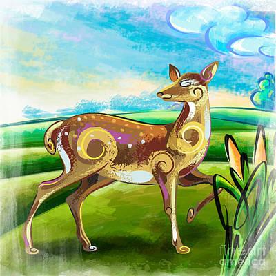 Deer Over Hill Poster by Bedros Awak