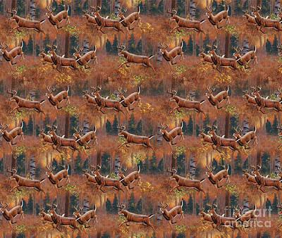 Deer Running Douvet Pillow Design Poster