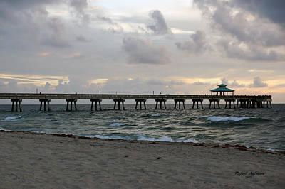 Poster featuring the photograph Deerfield Beach International Fishing Pier Sunrise by Rafael Salazar