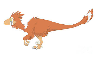 Deinonychus Pencil Drawing With Digital Poster by Alice Turner