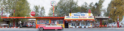 Delgadillo's Snow Cap Drive-in On Route 66 Panoramic Poster by Mike McGlothlen