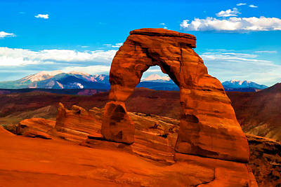 Delicate Arch In Saturated Watercolor Poster