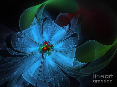 Delicate Blue Flower-fractal Art Poster by Karin Kuhlmann
