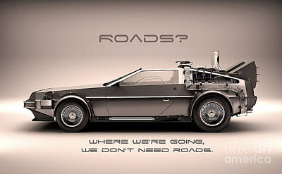 Delorean Poster by Marvin Blaine