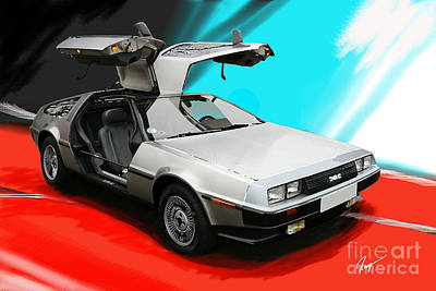 Delorean Poster by Roger Lighterness