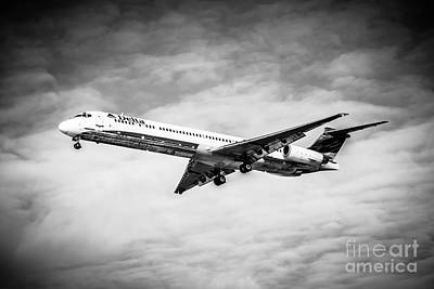 Delta Air Lines Airplane In Black And White Poster by Paul Velgos