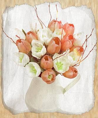 Deluxe Peach Tulips Poster by Debra  Miller