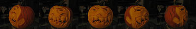 Poster featuring the sculpture Demented Mister Ullman Pumpkin 3 by Shawn Dall