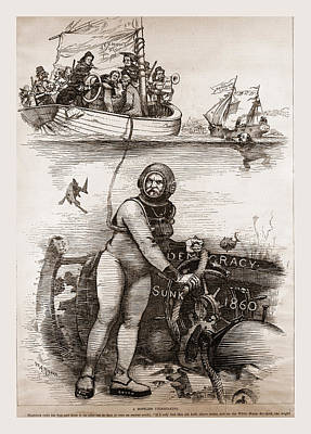 Democracy Sunk 1860, 19th Century Engraving Poster by Litz Collection