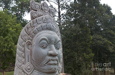 Demon Masks In Front Of Bayon Temple Poster