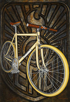 Poster featuring the painting Demon Path Racer Bicycle by Mark Howard Jones