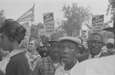 Demonstrators Holding Signs Poster