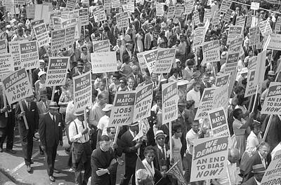 Demonstrators Marching In The Street Poster