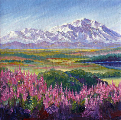 Denali And Fireweed Alaska Poster by Karen Mattson