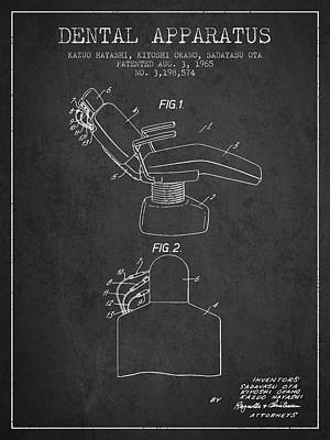 Dental Apparatus Patent From 1965 - Dark Poster by Aged Pixel