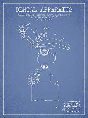 Dental Apparatus Patent From 1965 - Light Blue Poster by Aged Pixel