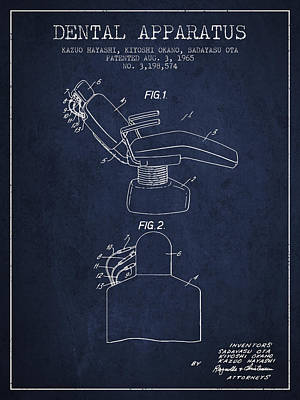 Dental Apparatus Patent From 1965 - Navy Blue Poster by Aged Pixel