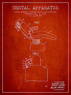 Dental Apparatus Patent From 1965 - Red Poster by Aged Pixel