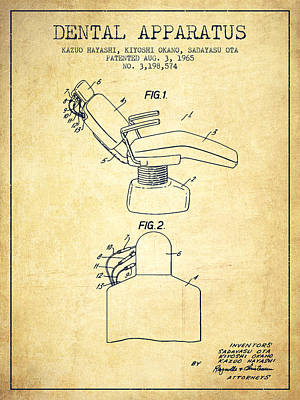 Dental Apparatus Patent From 1965 - Vintage Poster by Aged Pixel