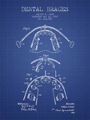 Dental Braces Patent From 1907  - Blueprint Poster