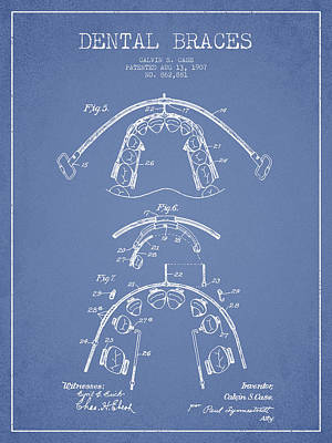 Dental Braces Patent From 1907 - Light Blue Poster