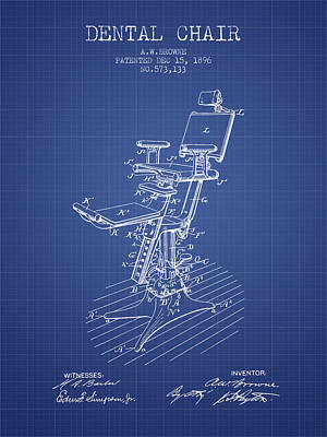 Dental Chair Patent Drawing From 1896 - Blueprint Poster by Aged Pixel