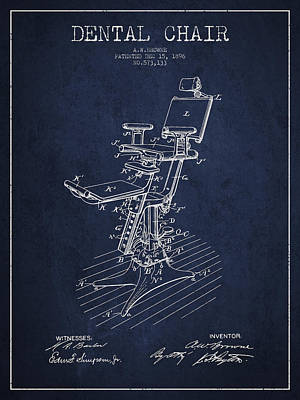 Dental Chair Patent Drawing From 1896 - Navy Blue Poster by Aged Pixel