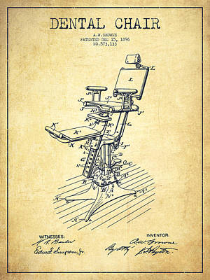 Dental Chair Patent Drawing From 1896 - Vintage Poster by Aged Pixel