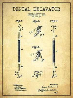 Dental Excavator Patent Drawing From 1896 - Vintage Poster by Aged Pixel