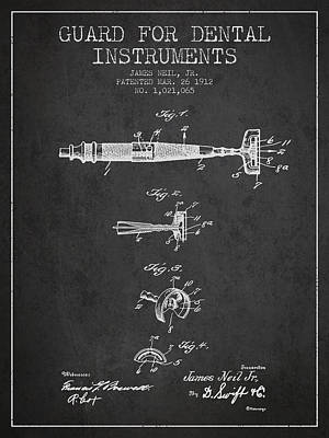 Dental Instruments Patent From 1912 - Dark Poster