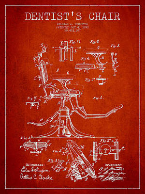 Dentist Chair Patent Drawing From 1892 - Red Poster by Aged Pixel