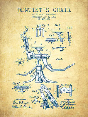 Dentist Chair Patent Drawing From 1892 - Vintage Paper Poster by Aged Pixel