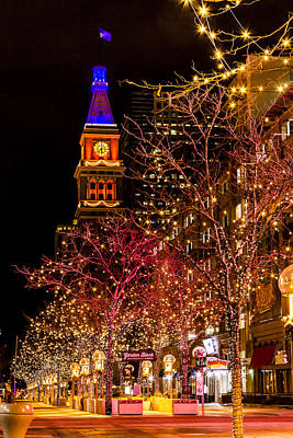 Denver 16th Street Mall In Orange And Blue Poster by Teri Virbickis