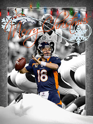 Denver Broncos Christmas Card Poster