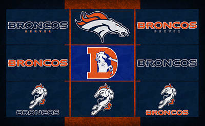 Denver Broncos Uniform Patches Poster by Joe Hamilton