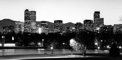 Denver Colorado In Black And White Poster
