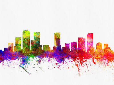 Denver Colorado Skyline 02 Poster by Aged Pixel