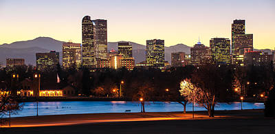 Denver Colorado Skyline From City Park Poster by Gregory Ballos
