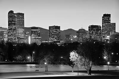 Denver Colorado Skyline In Black And White Poster by Gregory Ballos