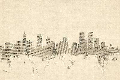 Denver Colorado Skyline Sheet Music Cityscape Poster by Michael Tompsett
