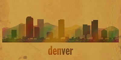 Denver Colorado Skyline Watercolor On Parchment Poster