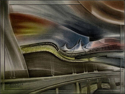 Poster featuring the pastel Denver Intl Airport 2010 by Glenn Bautista