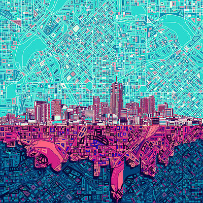 Denver Skyline Abstract 7 Poster