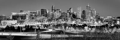 Poster featuring the photograph Denver Skyline At Dusk Evening Bw Black And White Evening Panorama Broncos Colorado  by Jon Holiday